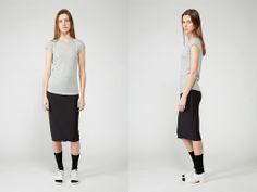 Grey Melange Short Sleeve Shirttail, ORGANIC by John Patrick