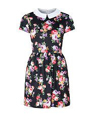 Black (Black) Innocence Black Floral Print Collar Skater Dress | 308505801 | New Look