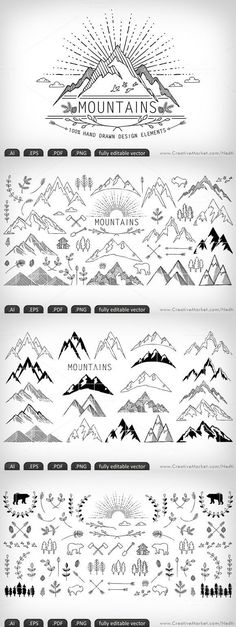 Mountains hand-drawn editable vector by Nedti on Creative Market Doodle Drawings, Doodle Art, Doodle Ideas, Doodle Frames, Zentangle, Bullet Journal Inspiration, Journal Ideas, Bullet Journal Doodles Ideas, Journal Design