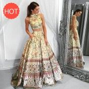 Two Piece High Neck Floor-Length Tribal Satin Prom Dress with Pockets