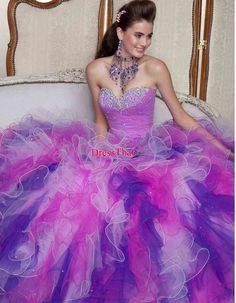 quinceanera dresses blue and purple | Purple Ball Gown Sweetheart Beaded Ruffles Long Quinceanera Dresses ...