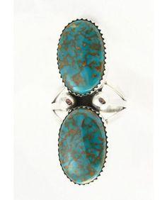 Navajo plata turquesa anillo Sz. 8 1/2 por WildhorseTreasures