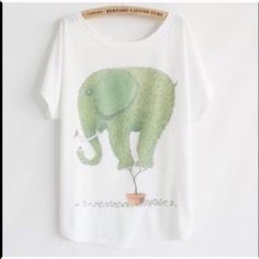 """Cute Tee Animal Print Tee New~Elephant~ Animal Print Tee New~Elephant  Style- Loose Batwing Sleeve Length 25.98"""" Bust 43""""-47"""" Soft and Comfy Fit Fabric: 65% Cotton 35% Polyester  Smoke FREE Home  No Tradefirm unless bundled Cute Tee Tops Tees - Short Sleeve"""