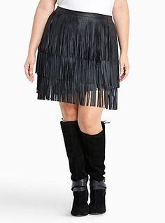 a23ef729eb940 Plus Size Faux Leather Fringe Mini Skirt
