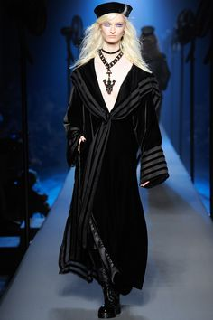 Black Velvet Coat. Jean Paul Gaultier Couture Fall/Winter 2014-2015 Fashion Show