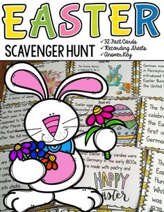 Is the Easter Bunny a hare or a rabbit? How many million Peeps are sold each year during Easter? What part of the chocolate Easter Bunny should you eat first? Your students will enjoy knowing the answers to these and many more interesting questions with this 32 Scavenger Hunt Fun Facts pack on Easter.  https://www.teacherspayteachers.com/Product/EASTER-2441510