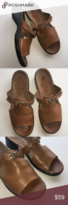 CLARKS Brown Leather Slip On Sandal Strap Loafer Beautiful camel brown color. Practical and stylish. Adjustable velcro straps. Worn once, excellent condition, one minor scuff on right toe as photographed. Size 8. Shoes Sandals