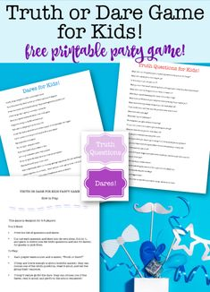 Truth or Dare Game for Kids! {new free printable party game! Birthday Party At Home, Birthday Party Games For Kids, Birthday Activities, Kids Party Themes, Party Ideas, Game Ideas, Birthday Ideas, 11th Birthday, Family Activities