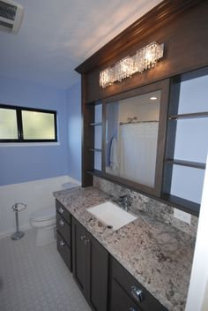 StarMark cherry slate with sliding vanity mirror--great idea! Kitchen Cabinets In Bathroom, Glass Bathroom, Bathroom Interior, Bathroom Green, Allure Vinyl Plank Flooring, Mobile Home Doublewide, Japanese Bathroom, Maple Kitchen Cabinets, Green Apartment