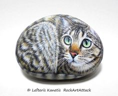 Hand Painted Rock Cat With Expressive Face by RockArtAttack