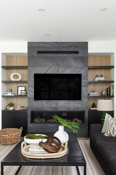 Fireplace Feature Wall, Feature Wall Living Room, Living Room Decor Fireplace, Living Room Built Ins, Living Room Tv Unit, Fireplace Built Ins, Home Fireplace, Home Living Room, Living Room Designs