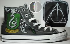 Harry Potter Hand Painted High Tops by OddlyIndie.deviantart.com