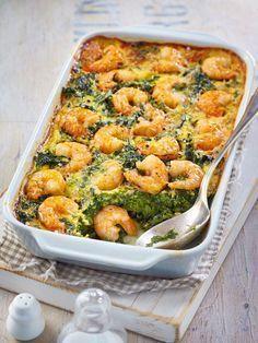 Spinach and shrimp casserole - Low Carb-Rezepte - Dinner Recipes Shrimp Recipes For Dinner, Shrimp Recipes Easy, Fish Recipes, Seafood Recipes, Meat Recipes, Chicken Recipes, Clean Eating Shrimp, Clean Eating Dinner, Shrimp Casserole