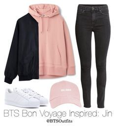 """""""BTS Bon Voyage Inspired: Jin"""" by btsoutfits ❤ liked on Polyvore featuring adidas and H&M"""