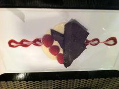 chocolate terrine with creme anglaise at Noir, Pasadena, CA.