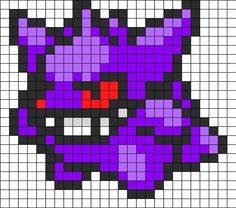 Search Results: Pokemon Bead Patterns Gengar Pokemon, Pokemon Sprites, Fuse Bead Patterns, Kandi Patterns, Perler Patterns, Beading Patterns, Pixel Art Templates, Perler Bead Templates, Meliodas Vs