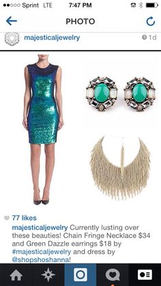 Lusting over this look! Jewels by Majestical and dress by Shoshanna.