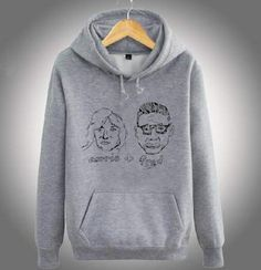 Cartoon Carrie and Fred hoodie for men Portlandia fleece sweatshirt