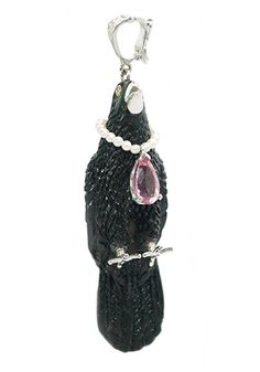 K.Brunini Jet, Pearl, Spinel & Diamond Raven Necklace at Oster.