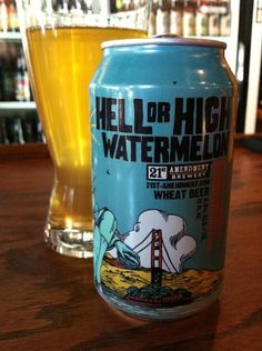 BrewChief.com Review of Hell or High Watermelon Wheat (21st Amendment Brewing Co.) : When driving down the long road of better beer, you're going to hit some potholes. There is no avoiding it, so best to expect them. Sometimes they are small and forgettable. Others are more prominent and leave lasting impressions. Then there are the craters you never forget; the tire destroyers that cause you to slam on your brakes and back the hell up just to see what on earth you hit...