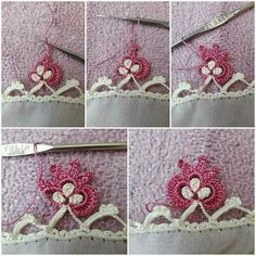 This Pin was discovered by Ayl Crochet Borders, Crochet Stitches, Crochet Patterns, Diy And Crafts, Arts And Crafts, Tatting Tutorial, White Eyeliner, Needlework, Crochet Necklace