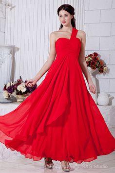 Ankle-length Ruched Red Empire Shoulder/Sweetheart Modern/Classic/Elegant/Luxurious One Empire Chiffon Zipper Waiste Sleeveless Evening Dress