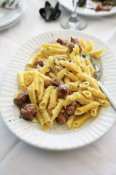 Pasta with Sausage and Cheese (Macaronia me Loukanika ke Tiri) Recipe | SAVEUR
