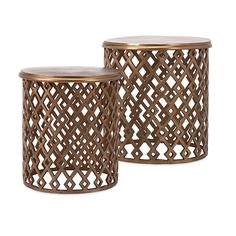 Beth Kushnick Copper Geometric Nesting Tables - Set of 2