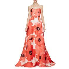 Lela Rose Strapless Oversized Floral-Print Gown ($5,300) ❤ liked on Polyvore featuring dresses, gowns, red multi, red silk dress, red floral dress, floral dress, red strapless dress and floral print evening gown
