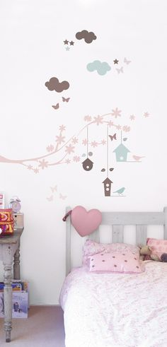 kids room / wall stickers love these and the the colors. Wall Stickers Birds, Nursery Stickers, Wall Decals, Wall Art, Pastel Room, Deco Kids, House Wall, Little Girl Rooms, Kids Decor
