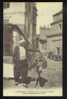 SALONICA, GREECE ~ TURKISH PEASANT MAN WITH HIS DONKEY, STREET VIEW ~ c. 1910's.      Propiedad y cortesía de Archivos Rodríguez LLC, archivofotograficodepuertorico.com