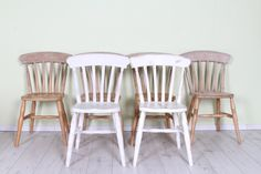 £175 Set of 6 slat back solid beech farmhouse chairs, shabby chic painting project - more info on our website - http://www.sussexpineonline.co.uk/en/