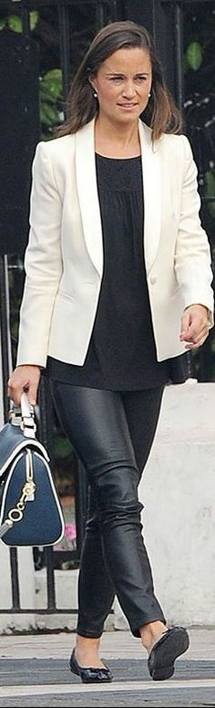 Who made  Pippa Middleton's black leather pants, flat shoes, black top, and blue handbag?
