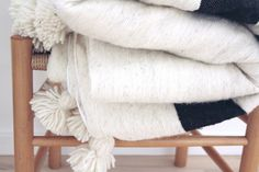 Colorful Scandinavian Home Accessories - Wool Pom Pom Blanket - Hand Crafted in Morocco - Shop Online Now - Melker Design