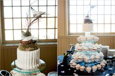 Arrangement of white cupcakes with a bird's nest topper - Photo by Jason