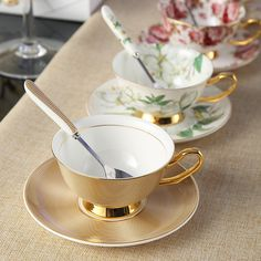 cb52c0e6e40 6 Styles Expresso Coffee Cups European Royal Bone China Mug Tea Cup Flower  Painting Coffee Cup And Saucer-Gold Rim Latte Mug