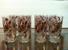 Set of 8 Highball Glasses  very retro by PurpleIrisVintage on Etsy, $32.00