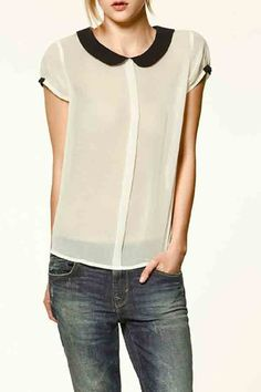 Peter+Pan+Collar+Back+Button+Down+Chiffon+Shirt+#Peter+#Shirt+#maykool