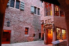 Small inner courtyard of Haut-Koenigsbourg castle at dusk