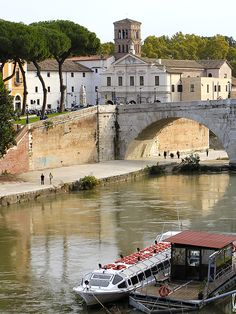 The Tiber island (Isola Tiberina) is connected with bridges to both sides of the river since antiquity. Being a seat of the ancient temple of Asclepius and later a hospital, the island is associated with medicine and healing. #tiberisland #isolatiberina #rome #italy