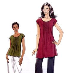 Very Easy Vogue 8565 Top, Tunic and Pants Sewing Pattern Tucked Front Summer Top