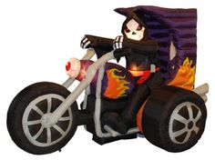 7 Foot Long Halloween Inflatable Grim Reaper on Motorcycle 2013 Yard Decoration -- More info could be found at the image url.