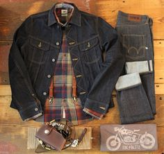 heritageguy:  peterfieldsberlin:  Rider Jacket worn rinse from Lee. Button down Shirt from Lee. Braces leather from Lee 101. ED 55 unwashed jeans from Edwin. FBC & Blitz Motorcycles Tee from Fat Boy Clothing. Medium Biker Wallet, Wallet Rope and Loop Keyring from Timeless Leather Craftsmanship. Bandana from Stetson.  BUSINESS ATTIRE!