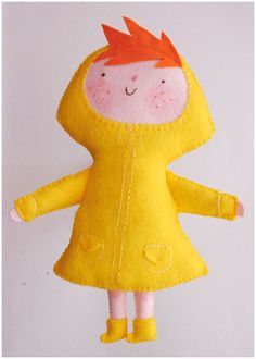 Rainy day felt doll.