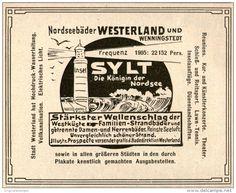 Original-Werbung/Inserat/ Anzeige 1906 - SYLT / NORDSEEBÄDER WESTERLAND UND WENNINGSTEDT - ca. 110 X 90 mm