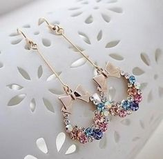 Cheap bow earrings, Buy Quality earrings women directly from China crystal bow earring Suppliers: Fashion Colorful Rhinestone Bow Knot Tassels Earrings Ladies Gold Cubic Zirconia Crystal Bow Earring Women Cute Fashion Jewelry Fancy Jewellery, Fancy Earrings, Tassel Drop Earrings, Jewelry Design Earrings, Bow Earrings, Ear Jewelry, Stylish Jewelry, Cute Jewelry, Fashion Jewelry