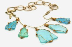 Large Blue Sea Glass Wire Wrapped Necklace by GoldenPlumeJewelry