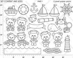 Baby Sailor Stamps Digital stamps Clip art by pixelpaperprints