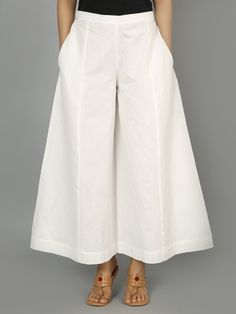 White Cotton Palazzo Pleated Pants, Skirt Pants, Dress Skirt, Collar Kurti, Sharara Suit, Wide Pants, Summer Outfits Women, Office Dresses, Palazzo Pants