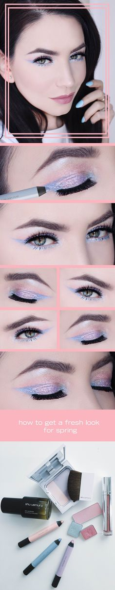 A fresh and cute spring makeup look with simple touches of lavender and Pantone's 2016 colors of the year (rose quartz and serenity). All products from the pastel fantasy collection by shu uemura.